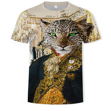 2021 verano venta caliente hombres 3D mundo animal tigre y león patrón fresco y moderno camiseta de talla grande