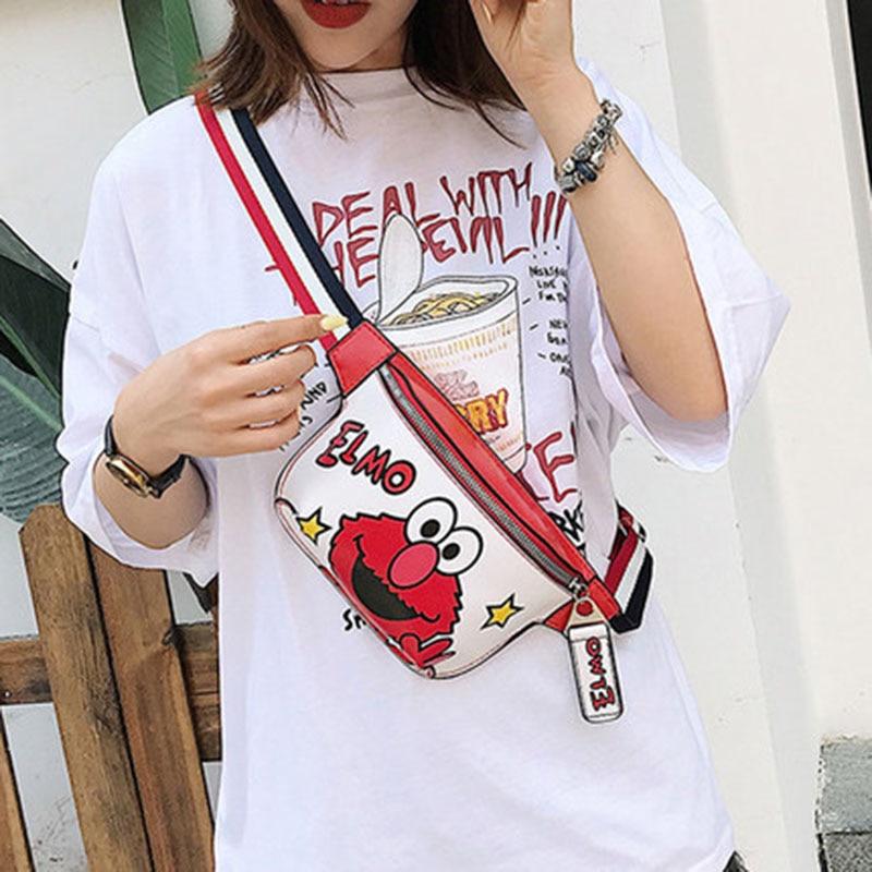 New Women Waist Bags For Kids Leather Fanny Pack Chest Bag Women Belt Bags High Capacity Sesame Street Banana Bags Shoulder Bags