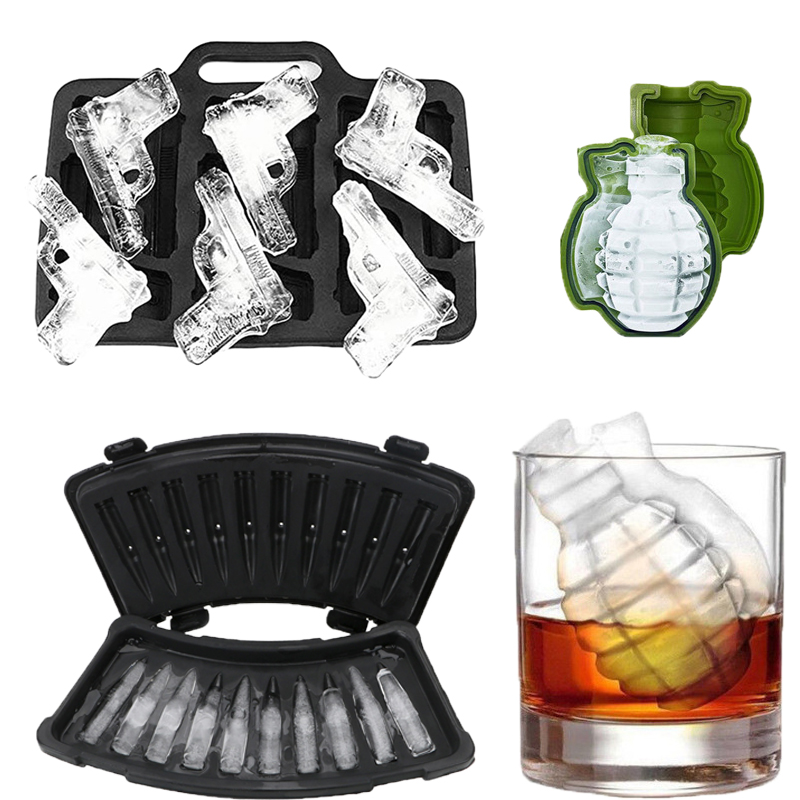 Creative Gun Bullet Shape Ice Cube Maker 3D DIY Ice Cube Mold Chocolate Candy Mould Cold Drink Whiskey Wine Ice Maker