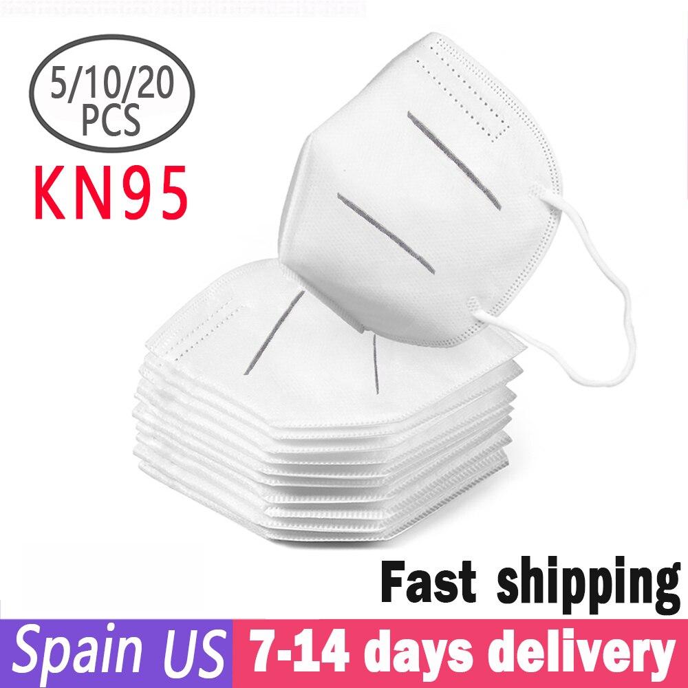 In Stock 20PCS N95 Mask KN95 Dust Respirator Mask Same As FFP2 Anti Dust Prevention Smog Prevention Masks