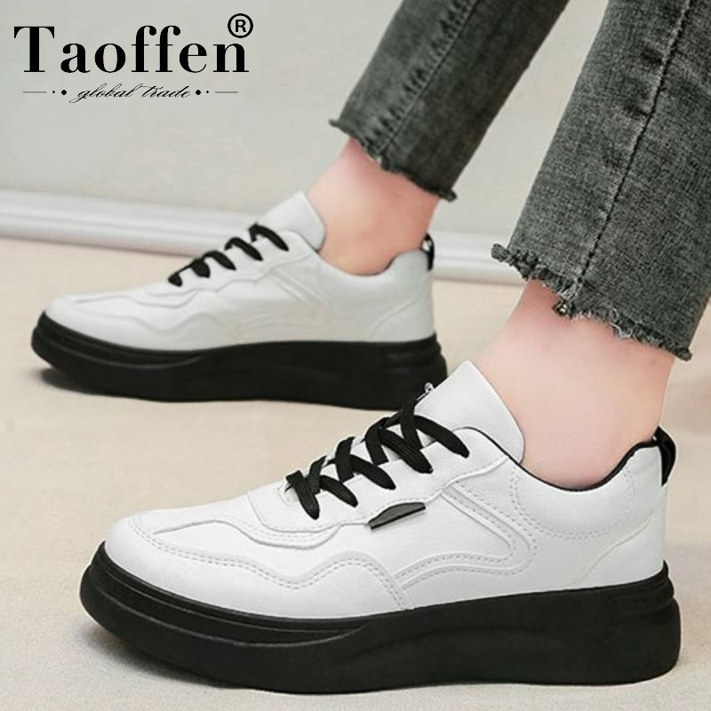 Taoffen Women Sneakers Casual Vulcanized Shoes Lace Up Round Toe Shoes Woman Fashion Outdoor Shoes Footwear Size 35-39