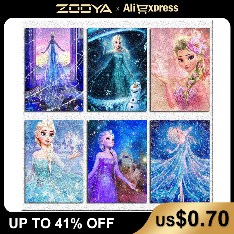 5d Diamond Painting Diamond Embroidery Cartoon snow princess ice romance Full Square drill Mosaic sale by numbers P75(China)