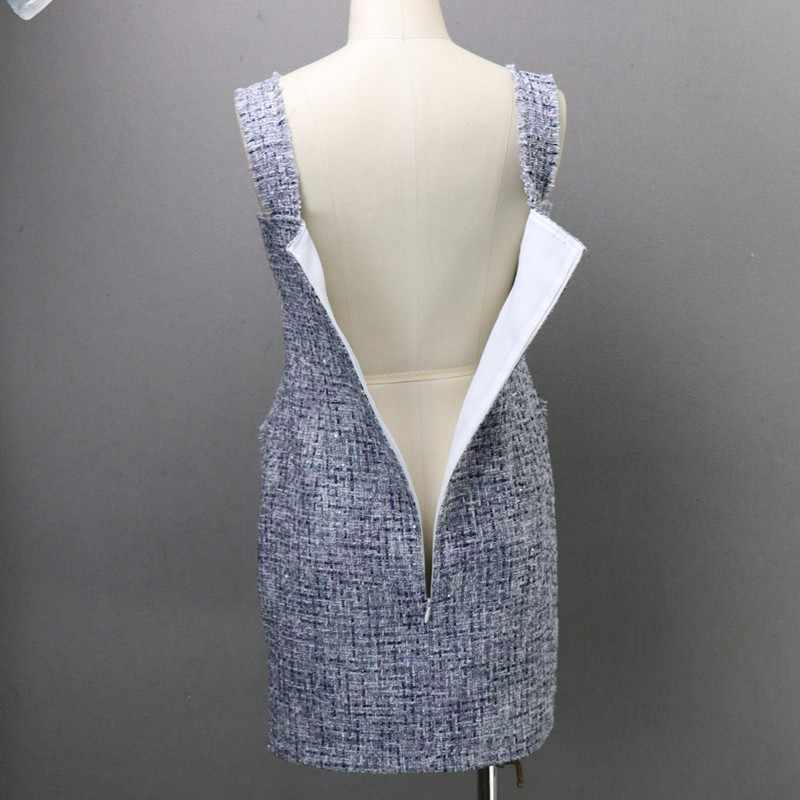 2020 New Fashion Plaid Tweed damska sukienka Sexy w paski, bez rękawów sukienka elegancka jednorzędowa kieszeń damska letnia sukienka