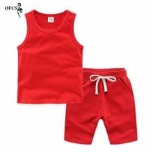 Retail Kids Clothes Toddler Boys Solid Outfits Children's Suit Girls Summer Tees Suits 2-12Y Cotton Unisex Vest T-shirt + Shorts