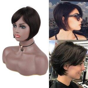 8 Cal mechanizm ludzkich włosów peruki z grzywką dla czarnych/białych kobiet 100% brazylijski doczepy z włosów typu Remy Natural Afro peruka z krótkim bobem