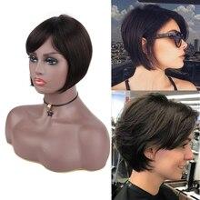 8Inch Mechanism Cheap Wigs Straight Human Hair Wigs with Bangs for Black Women Bob Brazilian Remy Human Hair Wigs with Bangs