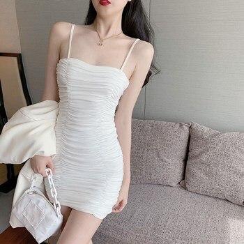Summer sling sleeveless dress Korean version of elastic tight-fitting hip sexy slim dress mini dress club dress dress galvanni dress