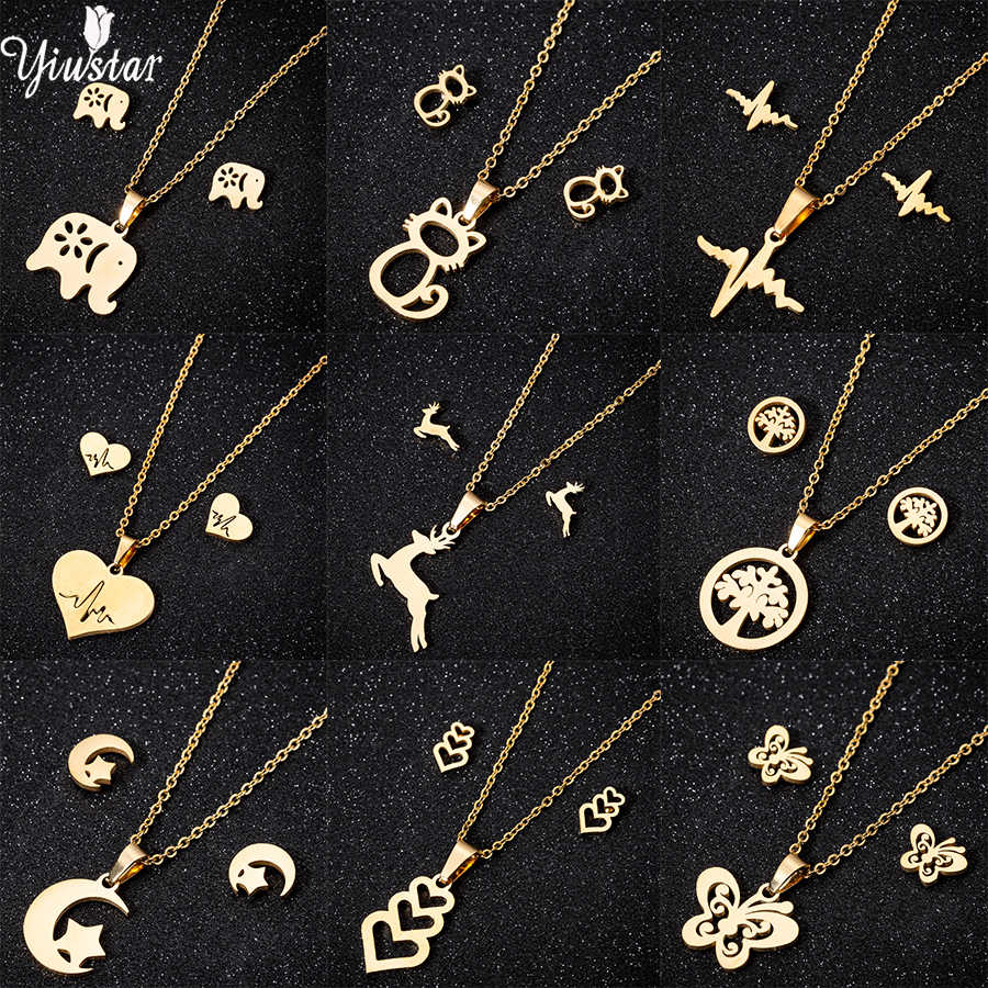 Yiustar Gold Color Stainless Steel Jewelry Set Trendy Elephant Monn Mickey Necklace Pendant Earrings Jewelry Set For Women Gifts