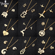 Yiustar Gold Color Stainless Steel Jewelry Set Trendy Elephant Monn Mickey Necklace Pendant Earrings Jewelry Set For Women Gifts(China)