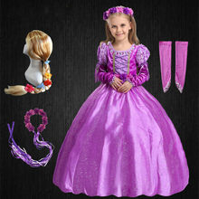 Weihnachten Phantasie Mädchen Rapunzel Prinzessin Kleid Kinder Sofia Party Mädchen Kleid Baby Winter Aurora kinder Kostüm knöchel Lang Kleid(China)