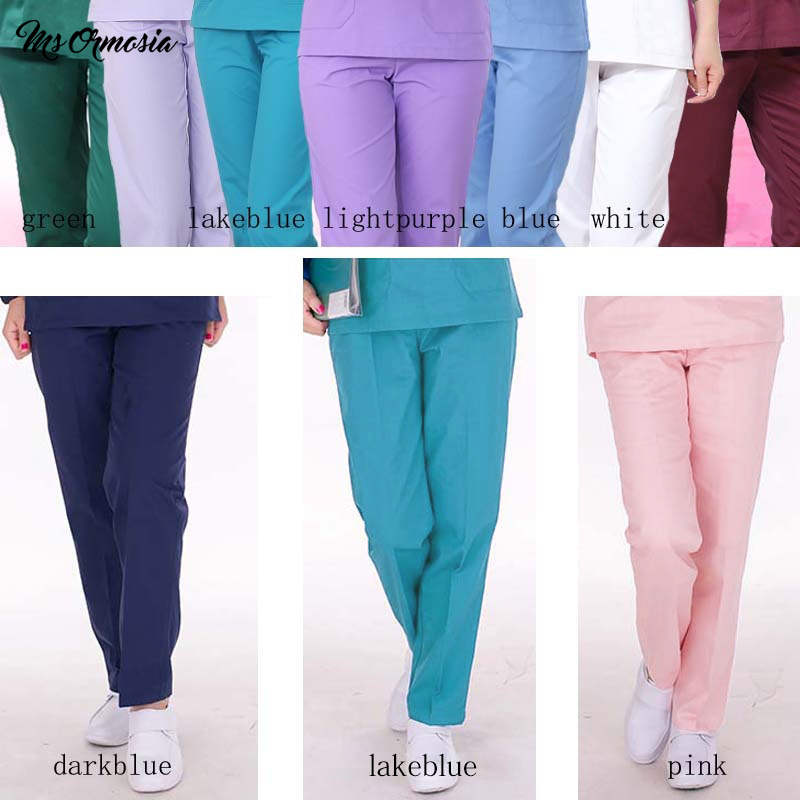 MSORMOSIA Fashion Women Scrub Pants Medical Uniform Design Color Lock Scrubs Medical Uniforms Men Bottoms Surgical Pants New