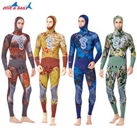 DIVE&SAI Spearfishing Wetuit 5MM Neoprene Mens Sunscreen Camo Scuba Diving Suit Hooded Jacket+Full body Vest Set Warm Swimsuit