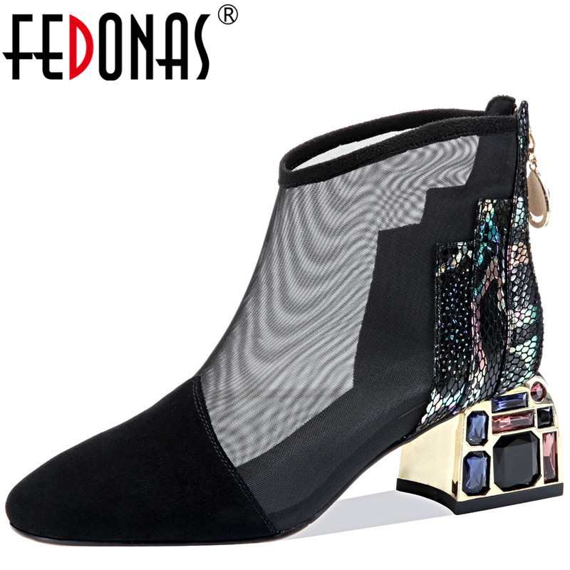FEDONAS 2020 Women Rhinsetone Crystal Back Zipper Cow Leather Pumps Spring Summer Party Shoes Brand Sexy New Arrival Shoes Woman
