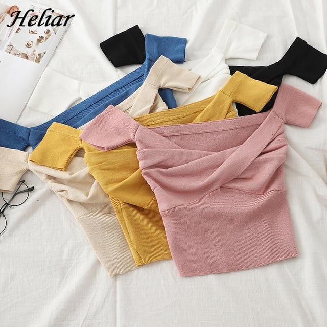 HELIAR Off Shoulder Solid Crop Top Women Cross Chest Tank Tops Female Knitting Female 2020 Summer Tank Tops For Women