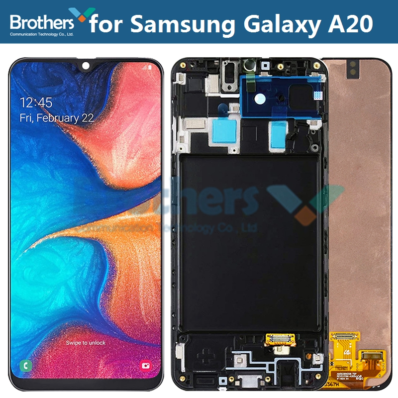 AMOLED LCD Screen For Samsung Galaxy A20 A205 LCD Display for Samsung <font><b>A205F</b></font>/SD <font><b>SM</b></font>-A205FN/SD LCD Assembly Touch Screen Digitizer image