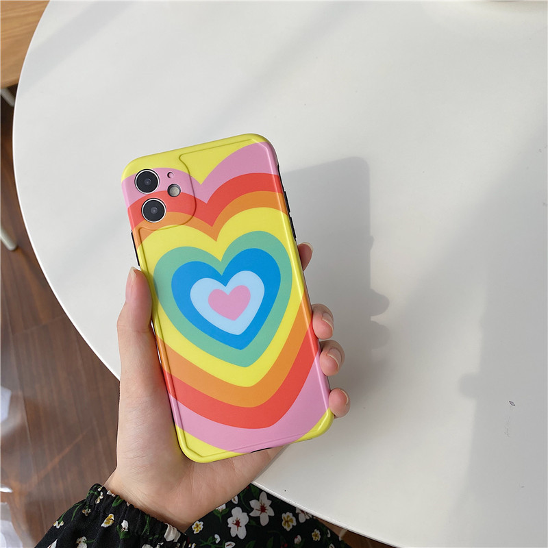 Luxury Rainbow Love Heart Phone Case For iPhone 11 11Pro Max SE 2020 X XS Max XR 8 7 Plus Shockproof Case Soft TPU Cover