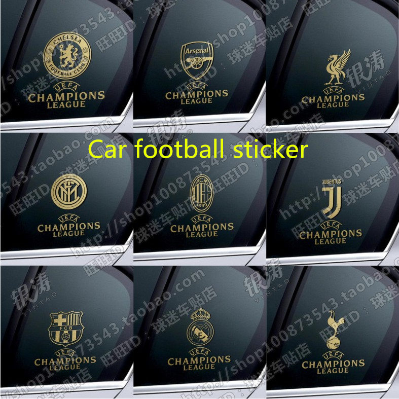 Car Stickers Liverpool Barcelona Real Madrid Arsenal Chelsea Inter Milan AC Milan Spurs Football Team Window Stickers