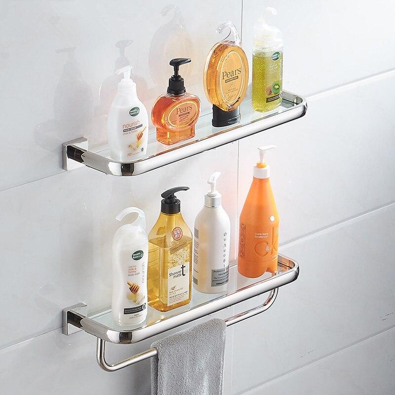Étagère de salle de bain acier inoxydable 304 | Support de douche, étagère d'angle en verre, étagère de bain-douche, support de rangement organisateur avec porte-serviettes