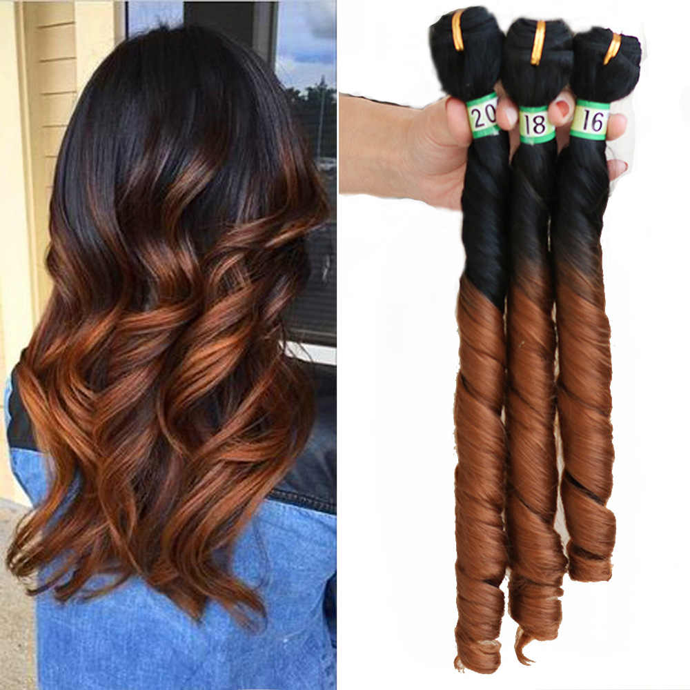 Natifah Ombre Natural Wave Synthetic Hair Bundles Wavy Hair 2 Tone Color 16 18 20Inch Long Curly Double Drawn