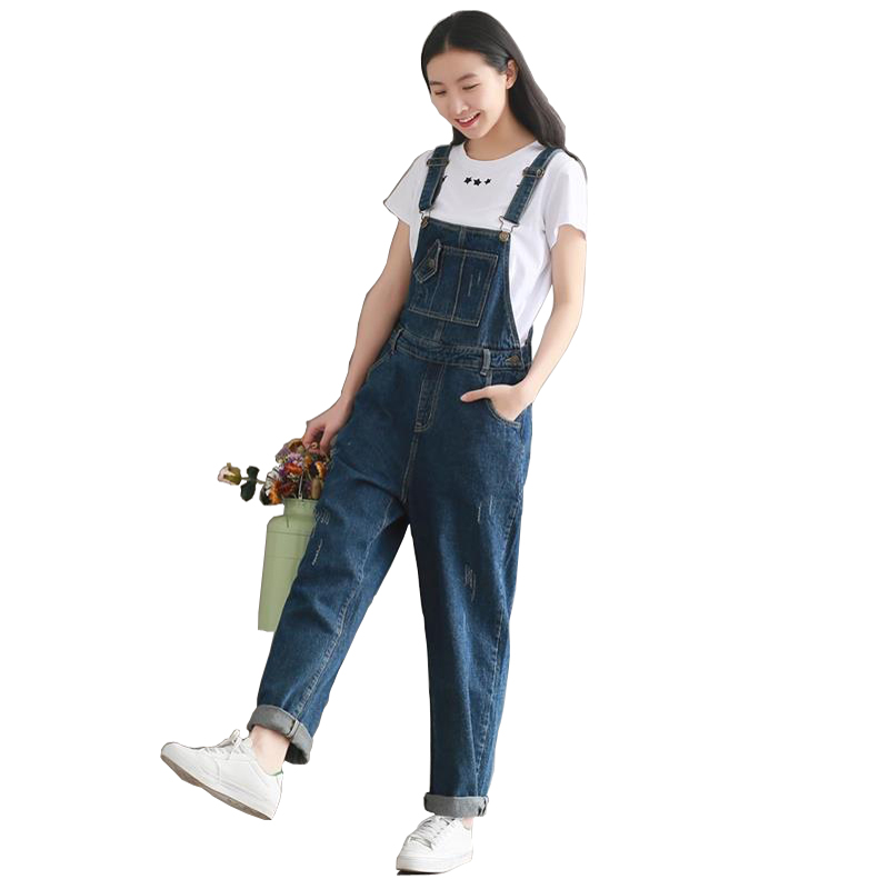 2020 Retro washed denim straps wide-legged slacks denim jumpsuit with buckles pockets title=