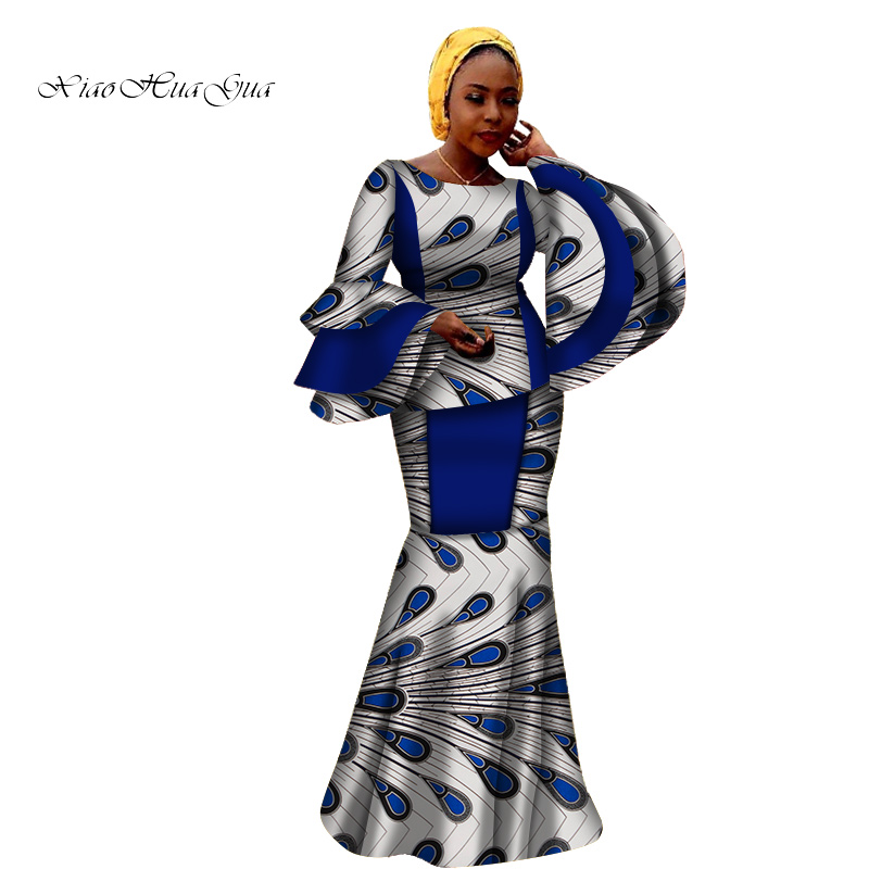 African Skirts Set African Clothes For Women African Print Big Sleeve Dashiki Tops And Long Skirts Women 2 Pieces Set WY6810
