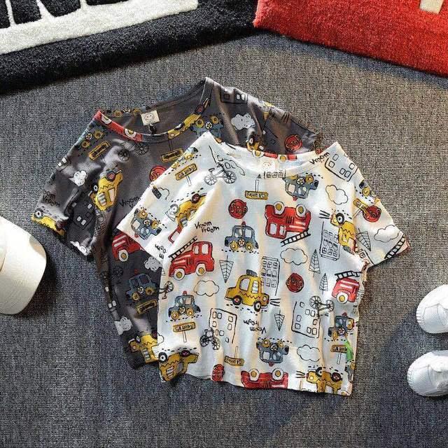 VIDMID Summer New Men's Clothes Children's Boys' Top Cartoon Car Pure Cotton Short Sleeve Casual Round Neck T-shirt P107 4