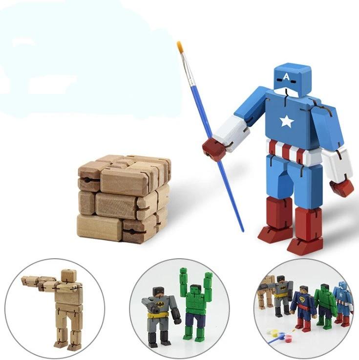Pabrik Langsung Marvel Batman Hulk Captain America Superman Kreatif Kayu Deformasi Robot Anak Diy Mainan Mewarnai Gratis Aliexpress