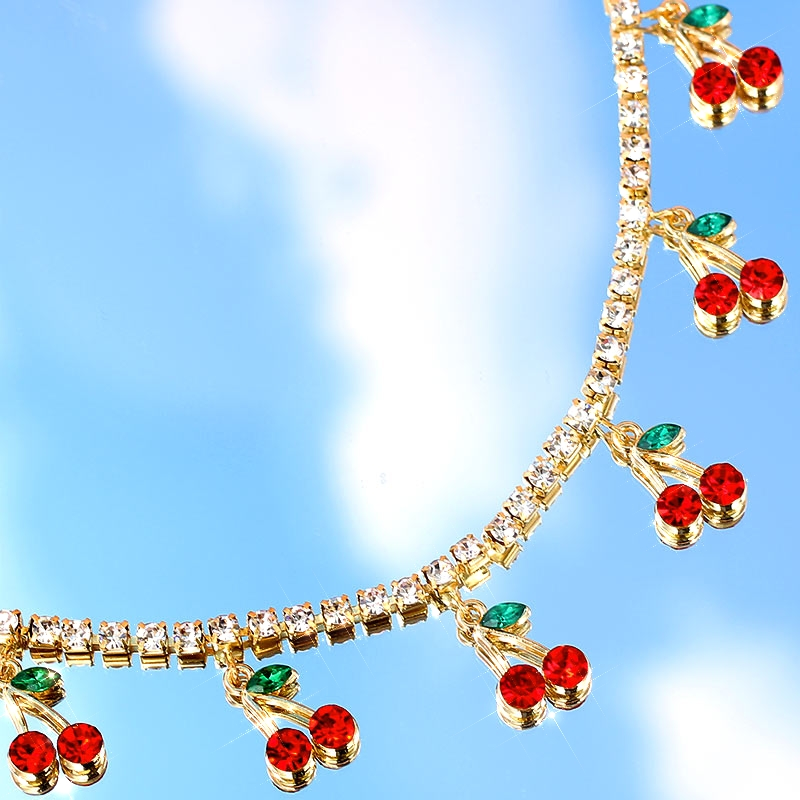 BYNOUCK New Luxury Red Cherry Crystal Tennis Chain Women's Necklace Charm Cute Pendant Necklaces Women Rhinestone Jewelry Gift