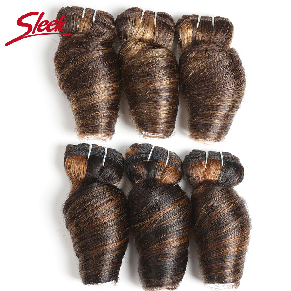 Sleek Hair Indian Remy Loose Wave Human Hair Double Drawn Piano Color 4/27 4/30 Brown Bundles Hair Extension 3Pcs Lot Free Ship