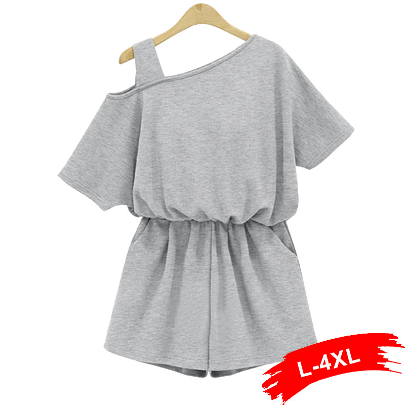 Plus Size Summer One Shoulder Strap Playsuits Jumpsuit 4Xl Gray Cotton Rompers Sexy Ladies Beach Wear Short Sleeve Overalls