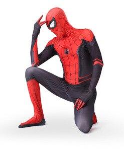 Костюм Человека-паука высокого качества, нарядное платье для взрослых и детей, костюм на Хэллоуин, красный, черный, спандекс, 3D, косплей