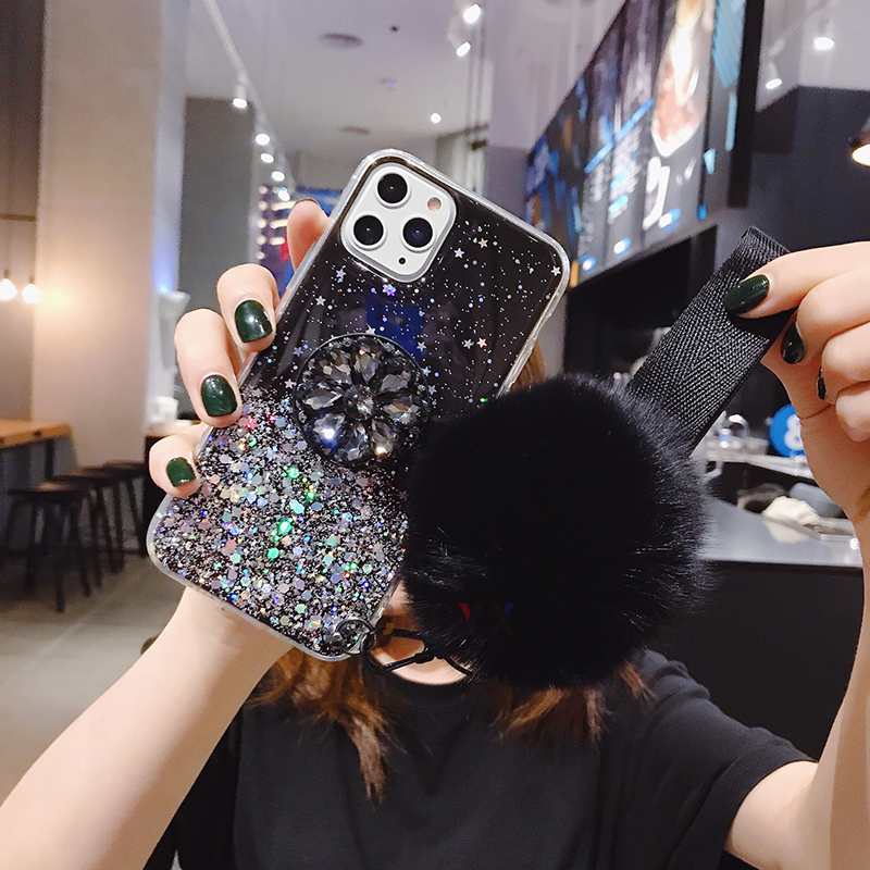 Hcf1055902770492286d91fafb6c9b910Q - 3D Diamond Holder stand Glitter Hairball soft phone case for iphone X XR XS 11 Pro Max 6 7 8 plus for samsung S8 S9 S10 Note A50