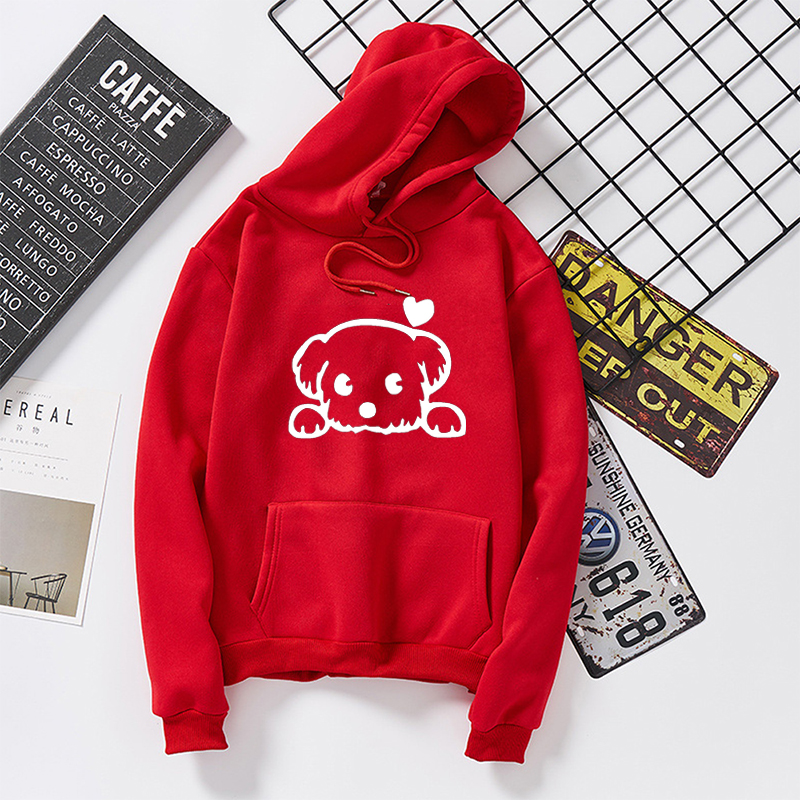 Harajuku Dog Cartoon Kawaii Hoodies  Hip Hop Hoody Female Women Autumn Winter Warm Bad Guy Graphic Sweatshirt