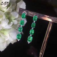 CSJ natural emerald Earrings Sterling 18K Gold Fine Jewelry Women Lady Wedding Engagment Party Gift