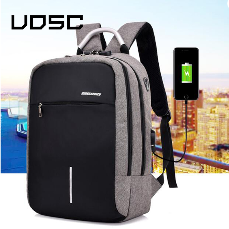UOSC Men Multifunction Anti Theft Backpack 2019 New USB Charging Backpacks Waterproof Schoolbag Business Travel Bags image