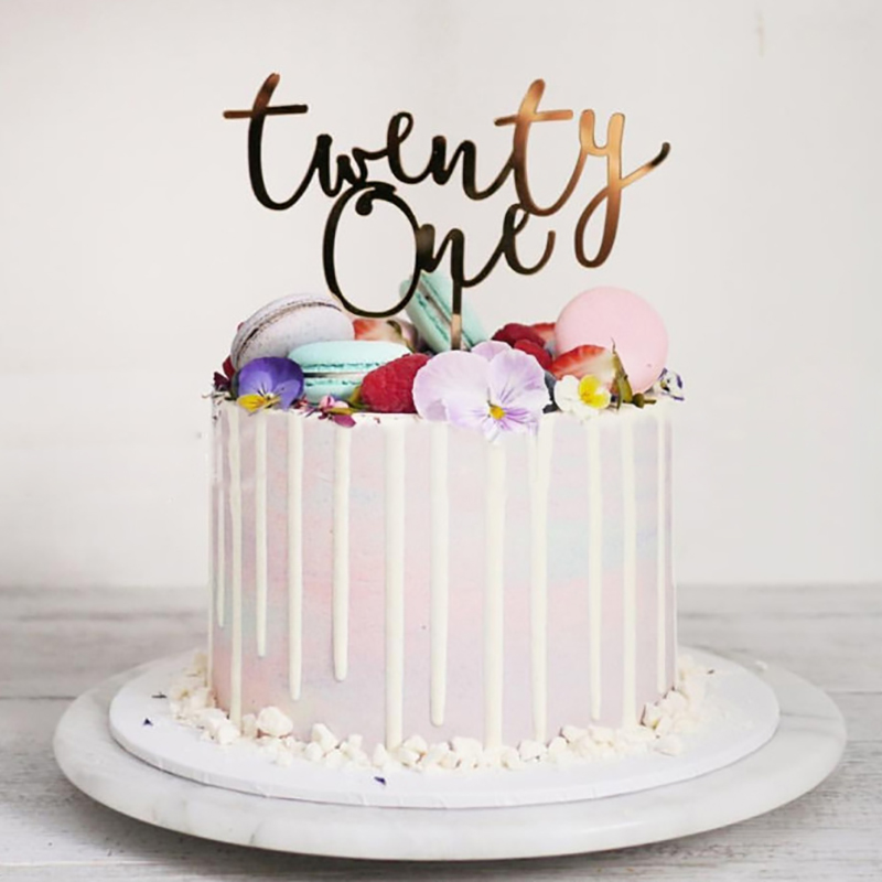 Groovy Twenty One Happy Birthday Acrylic Cake Topper Letters Number 21 Personalised Birthday Cards Beptaeletsinfo