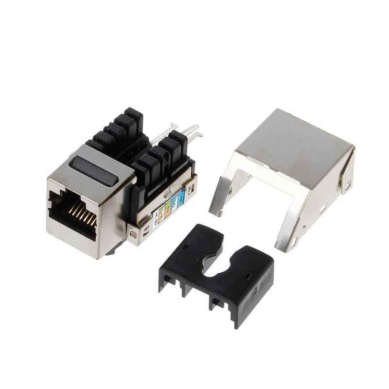 1 unidad RJ45 Keystone Cat6 blindado FTP aleación de cobre UTP Módulo de red Keystone Jack conector de red enchufe de información
