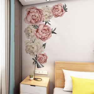 Image 3 - 71.5x102cm 큰 핑크 모란 꽃 벽 스티커 로맨틱 꽃 홈 장식 침실 거실 DIY 비닐 벽 전사 술