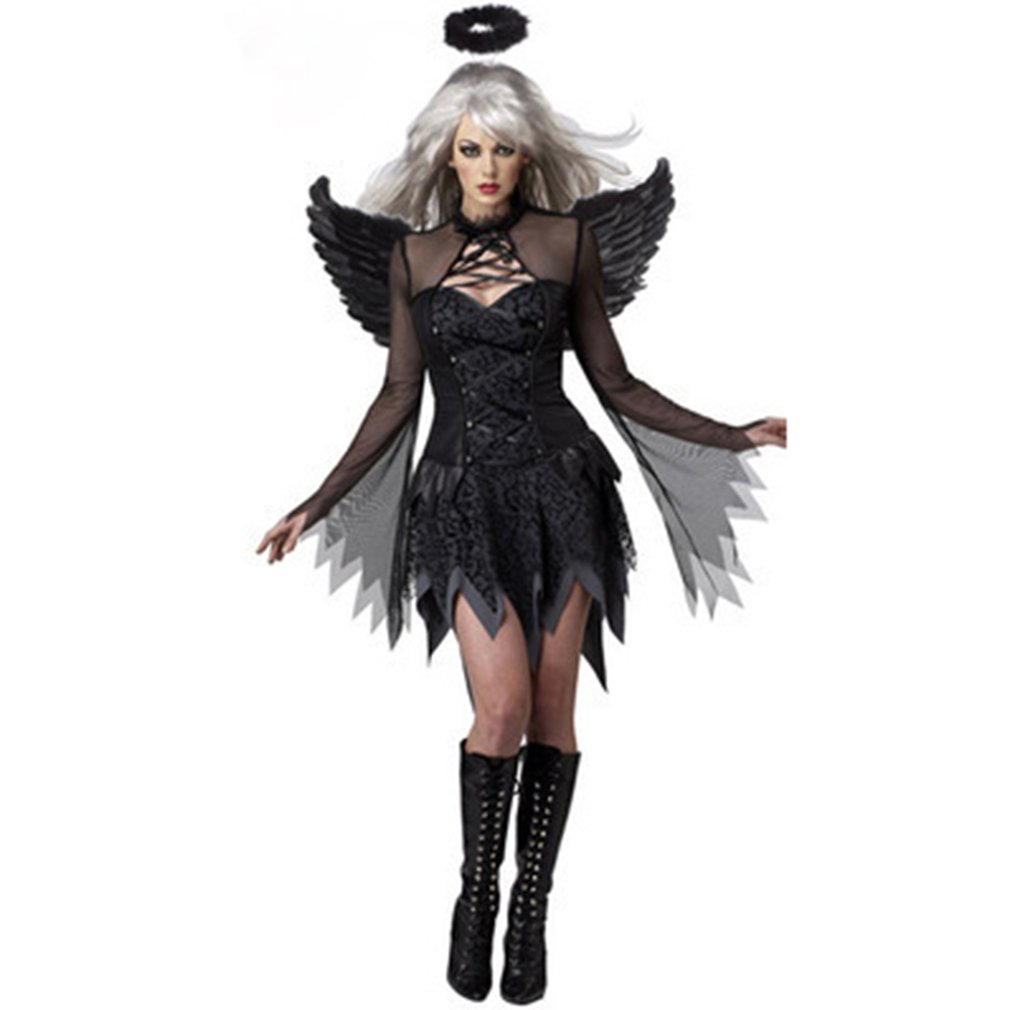 Halloween Black Devil Cosplay Costume ForWomen Vampire White Angel Dress With Wings Adult Sexy Party Witch Costumes Girl