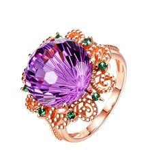 Anillo De amatista pura De oro rosa De 18K para mujer, Anillos De Bizuteria fina, piedras preciosas De amatista Natural, anillo joya De oro rosa De 18K