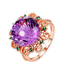 18K Rose Gold Pure Amethyst Ring for Women Anillos De Fine Bizuteria Natural Amethyst Gemstone 18K Rose Gold Jewelry Ring Box