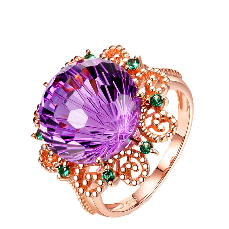 18K Rose Gold Pure Amethyst Ring for Women Anillos De Fine Bizuteria Natural Amethyst Gemstone 18K Rose Gold Jewelry Ring Box