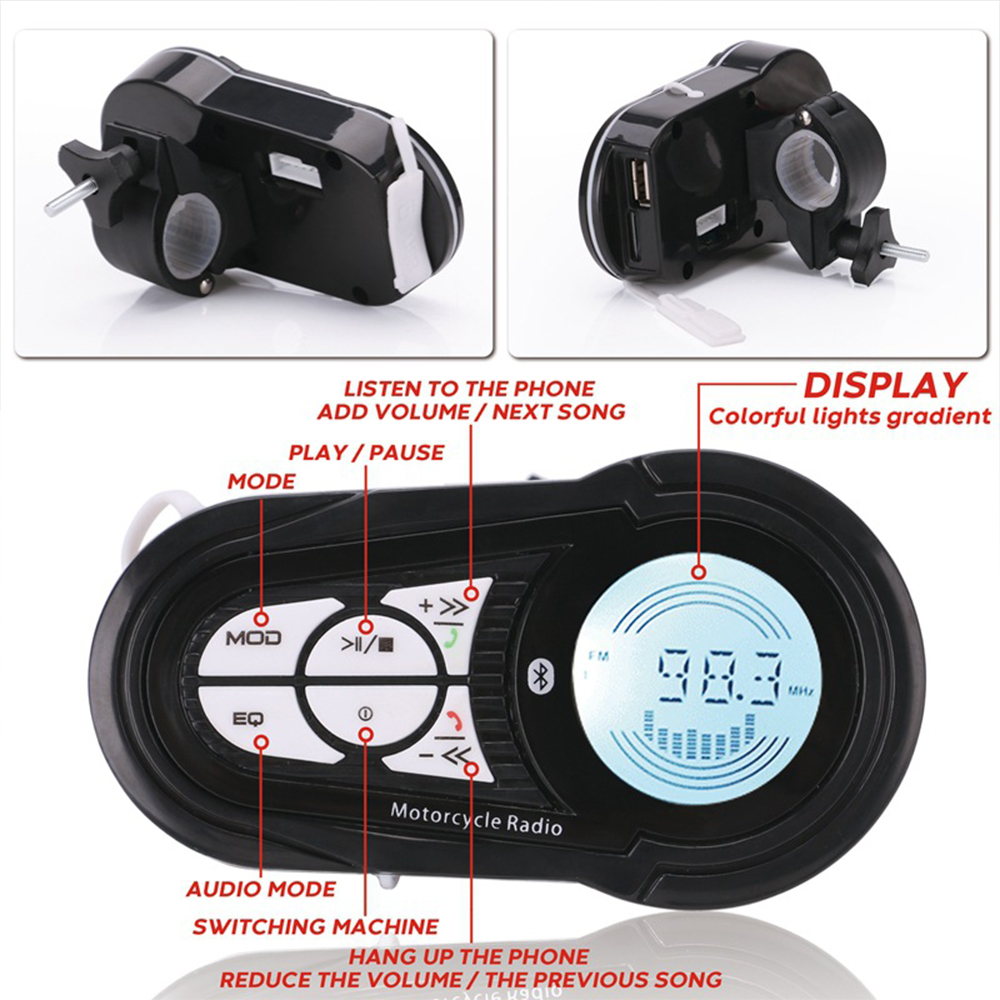 Image 5 - Waterproof Bluetooth Motorcycle Stereo Amplifier Speakers Handlebar Mount Audio Amp System for Harley ATV UTV RZR, AUX, FM RadioMotorcycle Audio   -