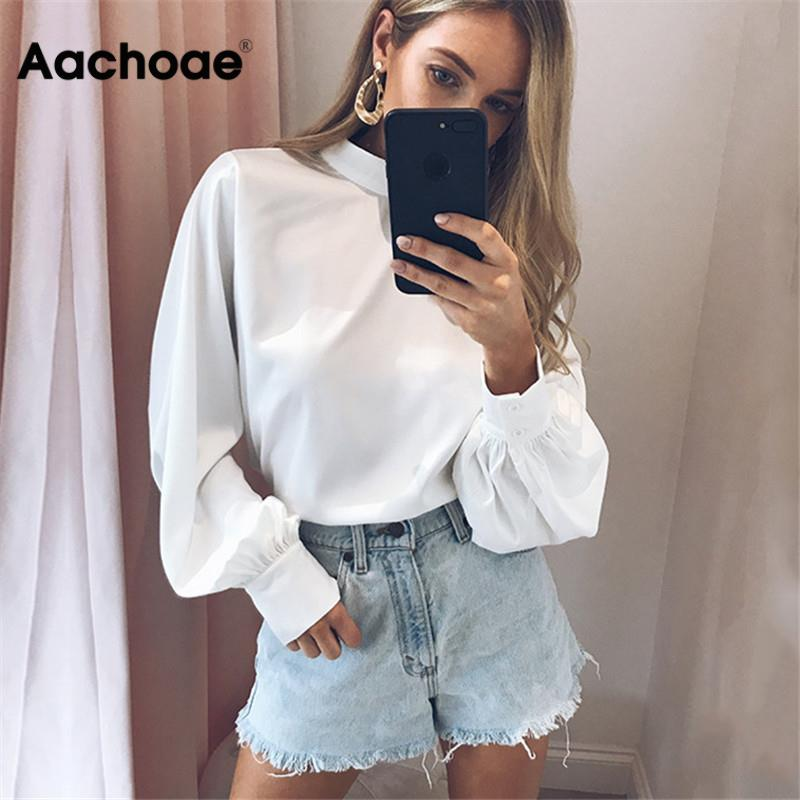 Aachoae Women Blouses 2020 Long Puff Sleeve Blouse Shirt Solid Elegant White Office Lady Shirt Casual Tops Blusas Chemise Femme