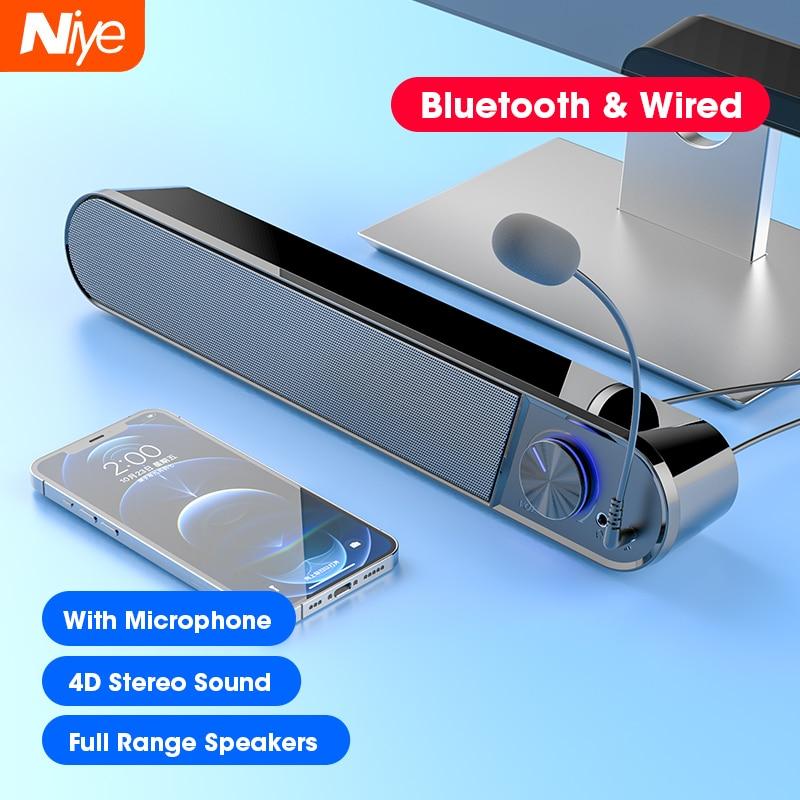 Altavoces estéreo con Bluetooth para ordenador, barra de sonido envolvente 4D para PC, portátil, Notebook, Teatro en Casa, gama completa