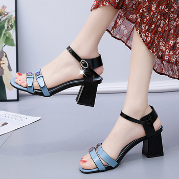 Factory wholesale Sandals Low Price Casual Party Sandals Sweet Thick High Heels Buckle princess Shoes Woman Ankle Strap Sandals image
