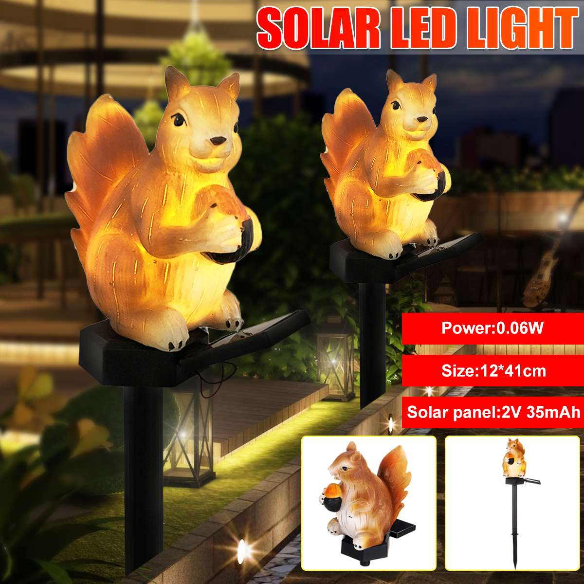 1PCS Solar Powered LED Lights Garden Yard Home Animal Lawn Lamp Ornament Outdoor Decor Sculpture Garden Statues Christmas Decor