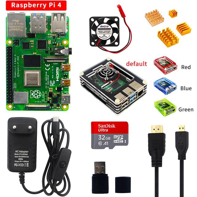 פטל Pi 4 דגם B Starter kit 2/4G RAM 2.4G & 5G WiFi Bluetooth 5.0 מיקרו HDMI Calbe + אקריליק מקרה + אספקת חשמל עבור Pi 4