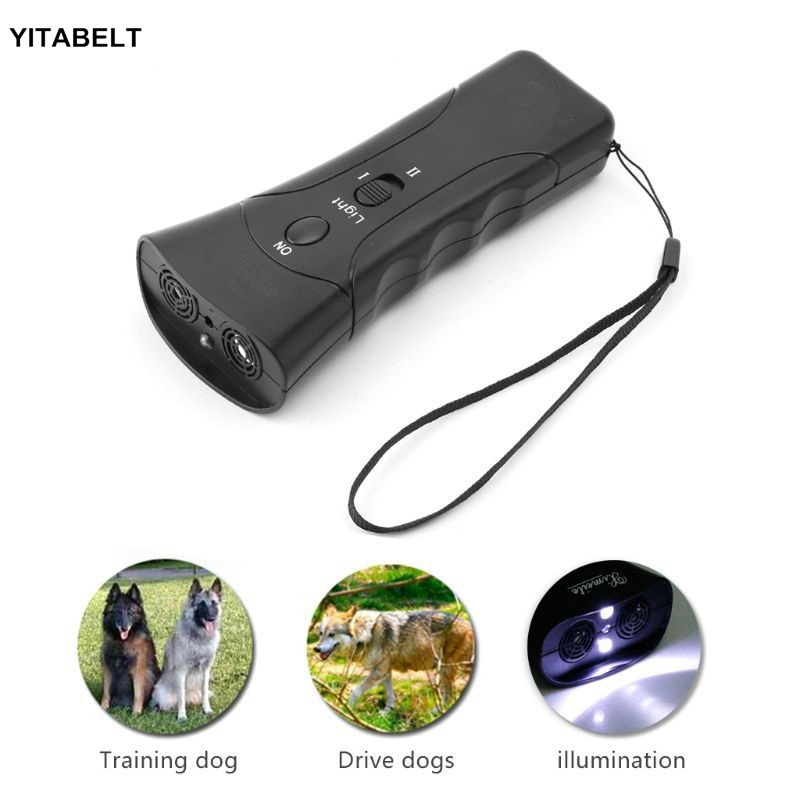 Portable Ultrasonic Dog Dispeller High-Power Electronic Cat Repeller Anti-Dog Bite Training Device Flashlight
