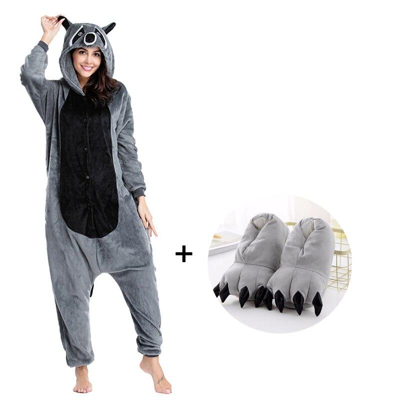 Funny Raccoon Kigurumi Animal Pajamas Women Men Onesies For Adults Cartoon Cosplay Costume One-Piece Pijamas Overalls Bodysuits